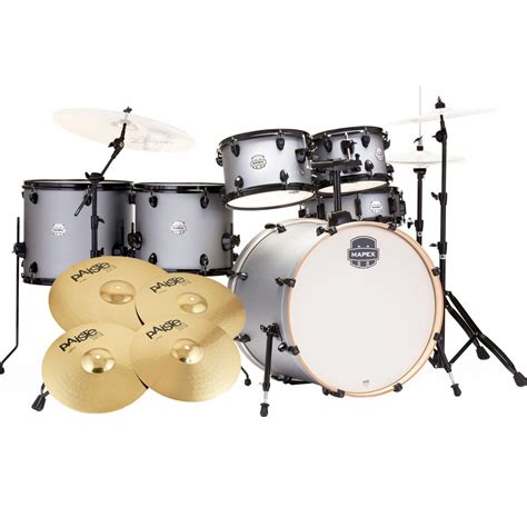 mapex 6 drumkit 22 rock fusion inc cymbals iron grey st5295f ig mapex drums
