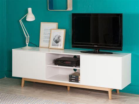 meuble tv 2 portes 2 niches en bois laqu 233 blanc pieds ch 234 ne l180cm jacobson