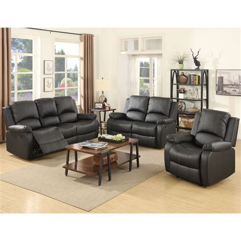 3 set sofa loveseat chaise recliner leather living room furniture in black ebay