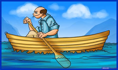 Cartoon Man In A Boat by How To Draw A Boat Step By Step Boats Transportation