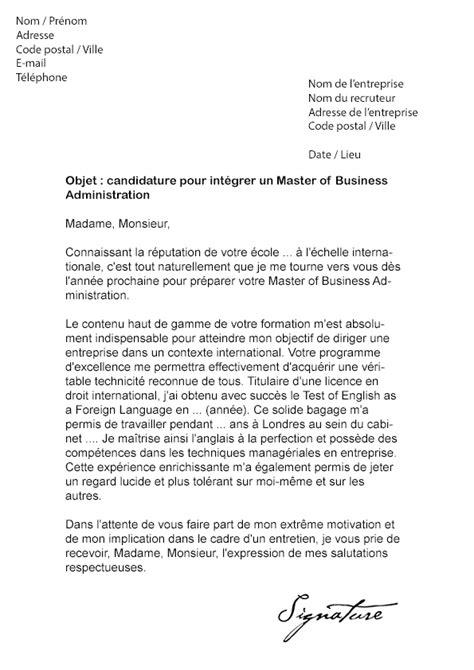 lettre de motivation master of business administration mba mod 232 le de lettre
