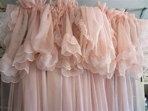 Vintage Pale Pink Curtains Shabby Chic Feminine