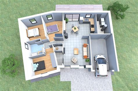 plan 3d d une maison en v de plain pied avec 3 chambres garage faites la construire avec