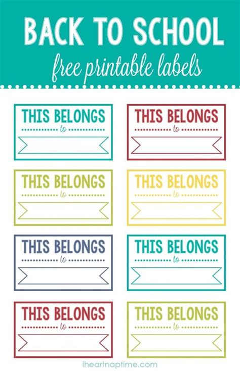 Back To School Printable Labels  I Heart Nap Time