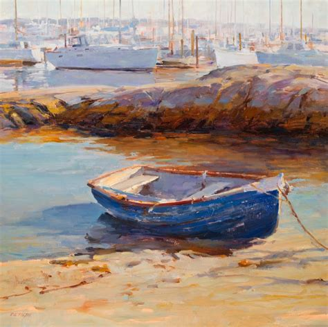 Rowboat In The Rain by Deborah Tilby Painter Blue Rowboat