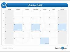 October 2019 Calendar With Holidays UK calendar month