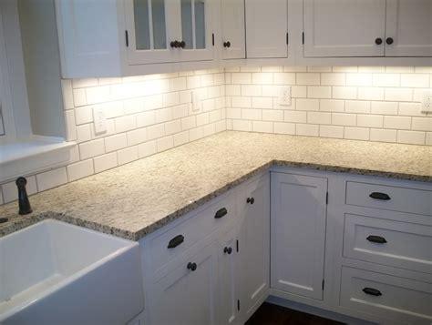 White Beveled Subway Tile Kitchen Backsplash Home Design