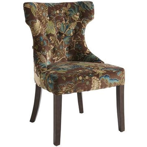 hourglass dining chair peacock floral back side is