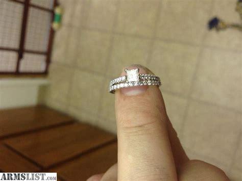 Engagement Ring And Wedding Band Combo, White Gold, .40 Karat Center