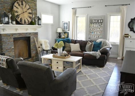 brown and teal living room designs fall 2015 home tour simple woodland inspired country
