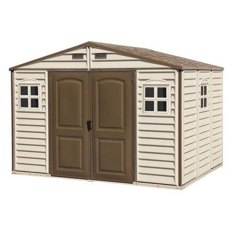 duramax building products woodside 10 ft x 8 ft vinyl shed with foundation and window 30214