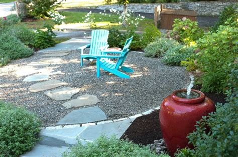 Pea Gravel Patio Designs by Flagstone Path Through Pea Gravel Patio Yard