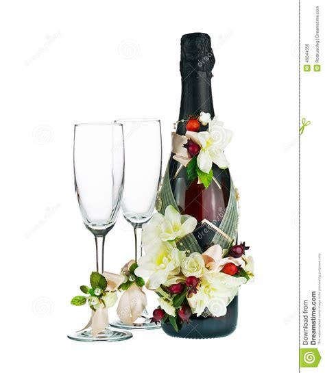 chagne bottle et verre avec la d 233 coration de mariage de la fleur arr photo stock image