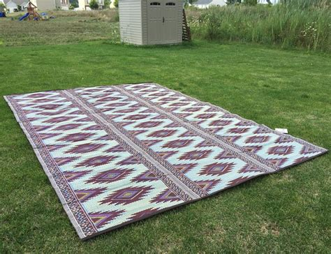 outdoor patio rug 9x12 rv cing picnic mat reversible