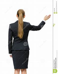 Backview Of Female Manager Waving Hand Stock Image - Image ...