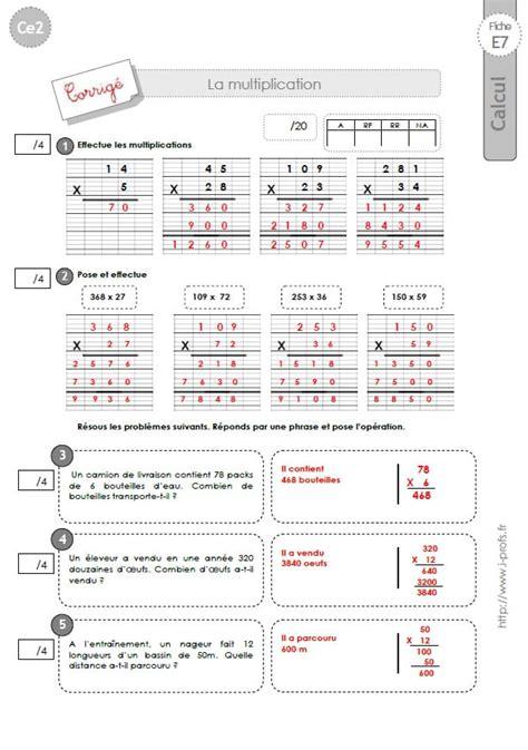 ce2 evaluation corrig 233 es technique op 233 ratoire de la multiplication
