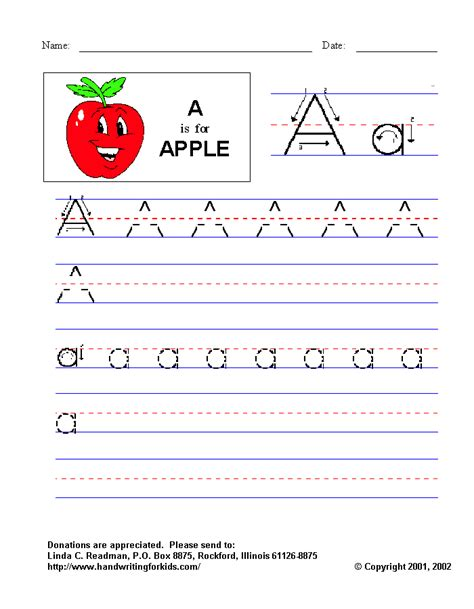 Letter A Handwriting Worksheets Kindergarten  Preschool Teacher's Resource Teaching The Letter