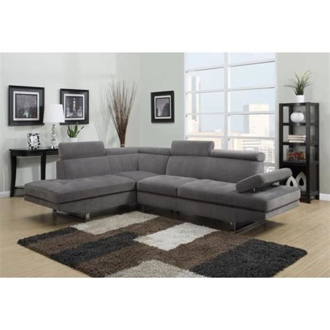 canap 233 d angle en microfibre gris design angle gauche achat vente canap 233 sofa divan