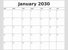 January 2030 Printable Calendar Pages