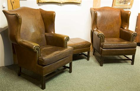 pair of quot ethan allen quot leather wing chairs with ottoman