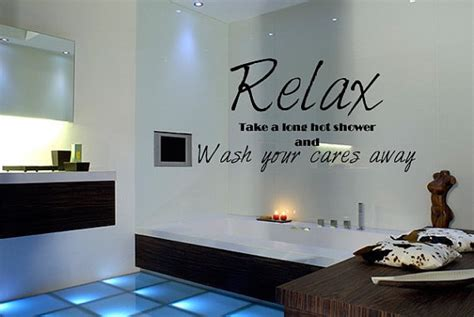 wall decal quote relax bathroom shower from