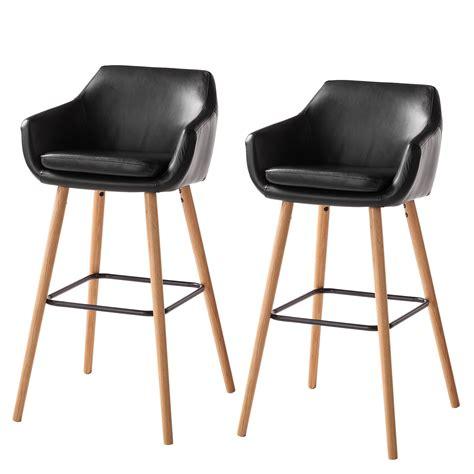 chaise de bar nicholas i lot de 2 imitation cuir ch 234 ne massif noir morteens