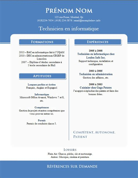 resume format modele de curriculum vitae a telecharger