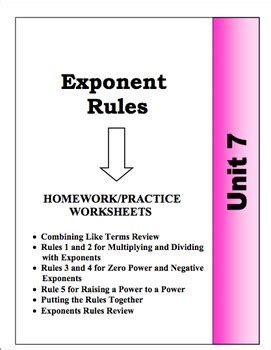 Algebra Unit 7  Exponent Rules Homework Worksheets Bundle By Algebra4all