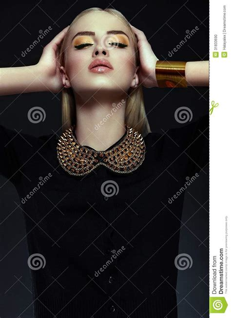 Stylish Blond Young Woman Model With Bright Makeup With