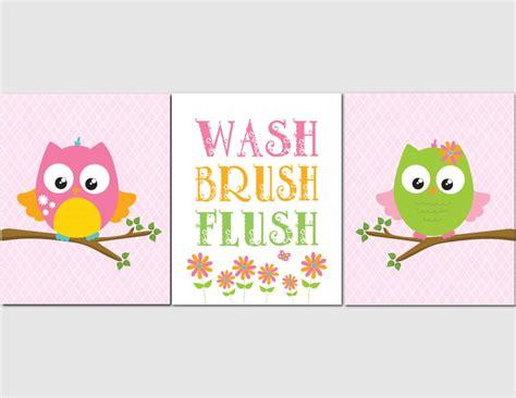 Owl Bathroom Wall Art For Kids Girl Bathroom Kids Bathroom
