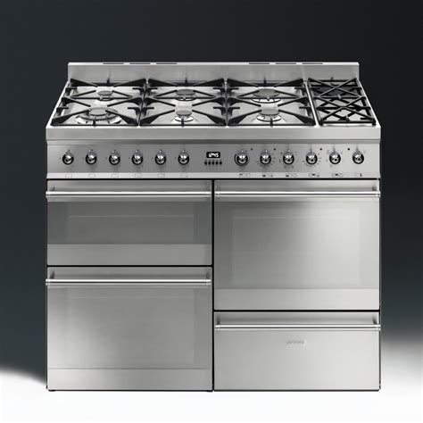 smeg cookers appliances symphony sy4110 8 dual fuel 110cm range cooker stainless steel with