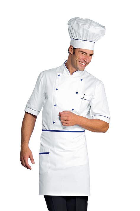 veste chef cuisinier alicante blanc bleu cyan 100 coton