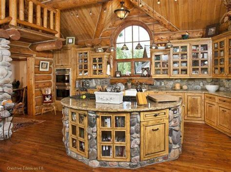 log house kitchen mansions and interior