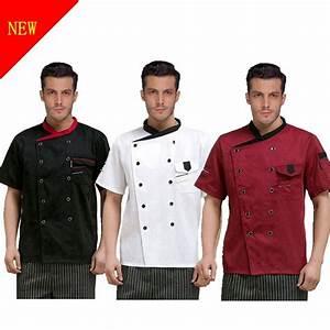 Chef Jacket Coat Chef Uniform Mens Kitchen Short Sleeve ...