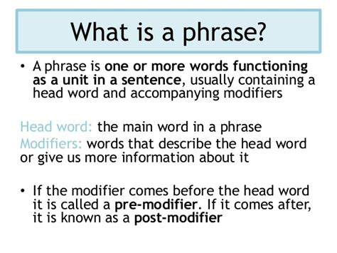 English Language Terminology  Phrases, Clauses And Sentences