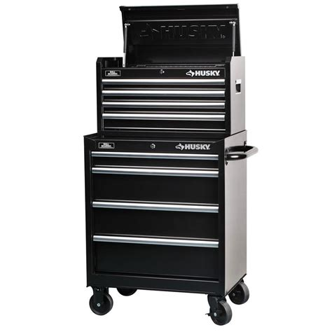 husky 27 in 8 drawer tool chest and cabinet set rust resistant black powder coat paint finish