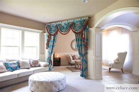 swag curtains for living room blue lantern swag valance curtain set traditional