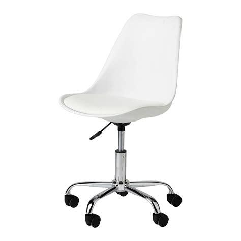 chaise de bureau 224 roulettes blanche bristol maisons du monde
