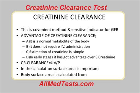 creatinine clearance test principle procedure results all tests