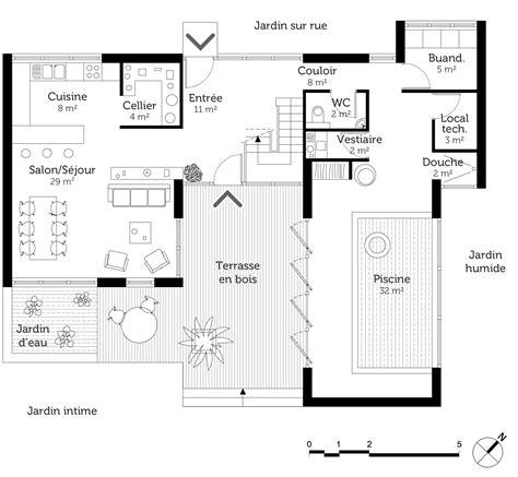 plan d une maison avec piscine interieure maison moderne