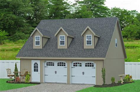 Prefab Garages With Attic Loft Space Two Car Garages Amish