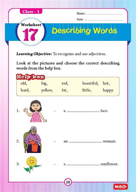 English Grammar Worksheets For Class 1