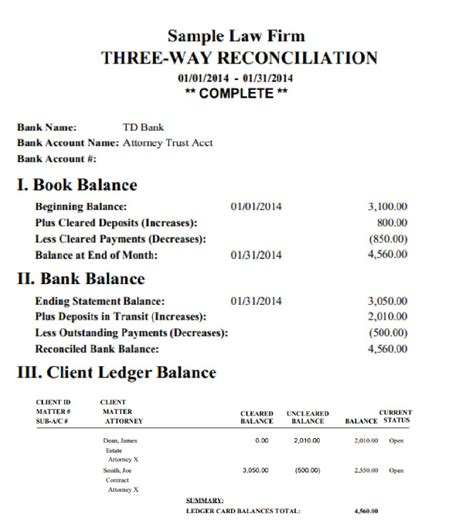 Trust Reconciliation Template by Trust Account Reconciliation Template Choice Image