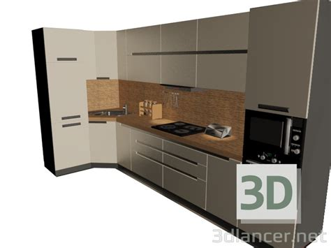 D Model Kitchen Set Style High-tech Download For Free