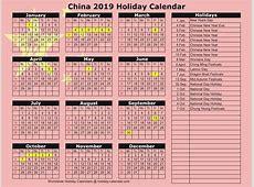 China 2018 2019 Holiday Calendar