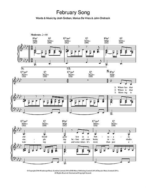 february song sheet by josh groban piano vocal guitar 105449