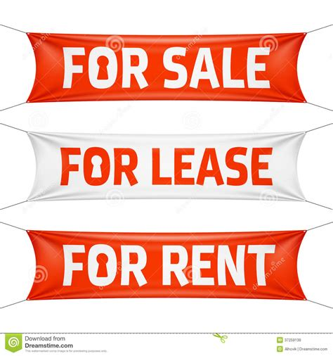 Fore Sale, For Lease And For Rent Banners Stock Image