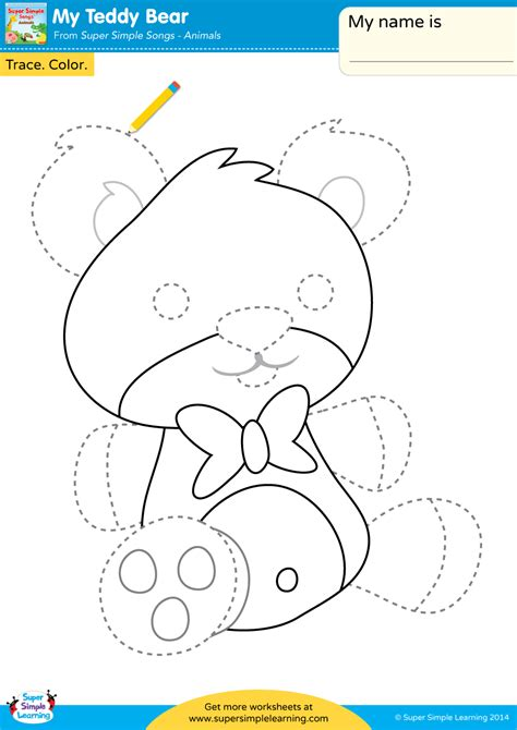 My Teddy Bear Worksheet  Trace & Color  Super Simple