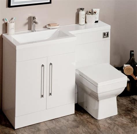 l shaped gloss white vanity unit and wc combination lh