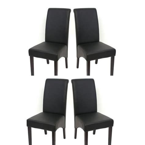 set de 4 chaises de salle 224 manger en simili cuir noir mat pieds fonc 233 s cds04124 d 233 coshop26